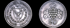 1963 Cyprus 50 Mils World Coin - Grapes - $5.99