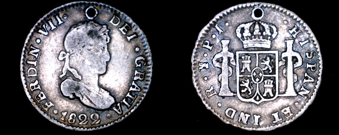 1822-PTS PJ Bolivian 1/2 Real World Silver Coin - Bolivia - Holed