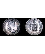1822-PTS PJ Bolivian 1/2 Real World Silver Coin - Bolivia - Holed - $34.99
