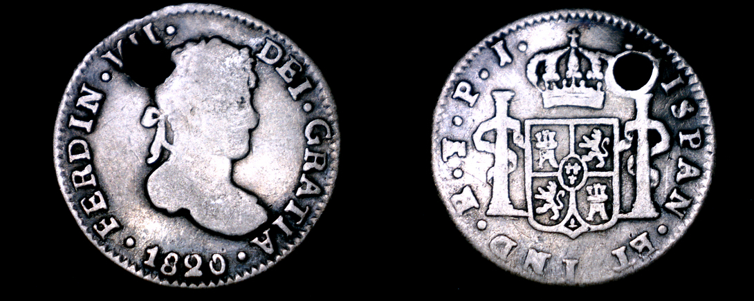 1820-PTS PJ Bolivian 1/2 Real World Silver Coin - Bolivia - Holed