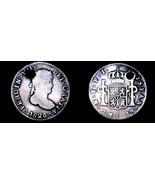 1820-PTS PJ Bolivian 1/2 Real World Silver Coin - Bolivia - Holed - $24.99