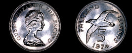 1974 Falkland Islands 5 Pence World Coin - Albatross - $9.99