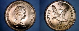 1974 Falkland Islands 2 Pence World Coin - Upland Goose - $9.99
