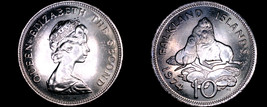 1974 Falkland Islands 10 Pence World Coin - Ursine Seal with Cub - $12.99