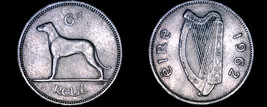 1962 Irish 6  Pence World Coin - Ireland - Wolfhound - $13.99