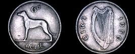 1950 Irish 6  Pence World Coin - Ireland - Wolfhound - $13.99