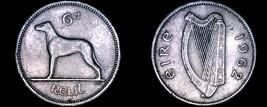 1962 Irish 6  Pence World Coin - Ireland - Wolfhound - $8.99