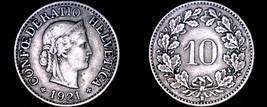 1921 Swiss 10 Rappen World Coin - Switzerland - $8.99