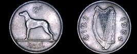 1964 Irish 6  Pence World Coin - Ireland - Wolfhound - $6.99