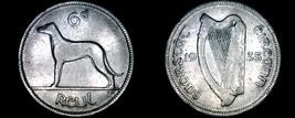 1935 Irish 6  Pence World Coin - Ireland - Wolfhound - $24.99