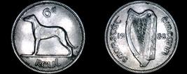 1928 Irish 6  Pence World Coin - Ireland - Wolfhound - $19.99