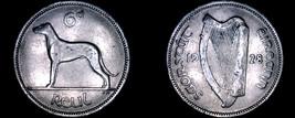 1928 Irish 6  Pence World Coin - Ireland - Wolfhound - $14.99