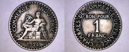 1924 French 1 Franc World Coin - France - Open 4 - $4.99