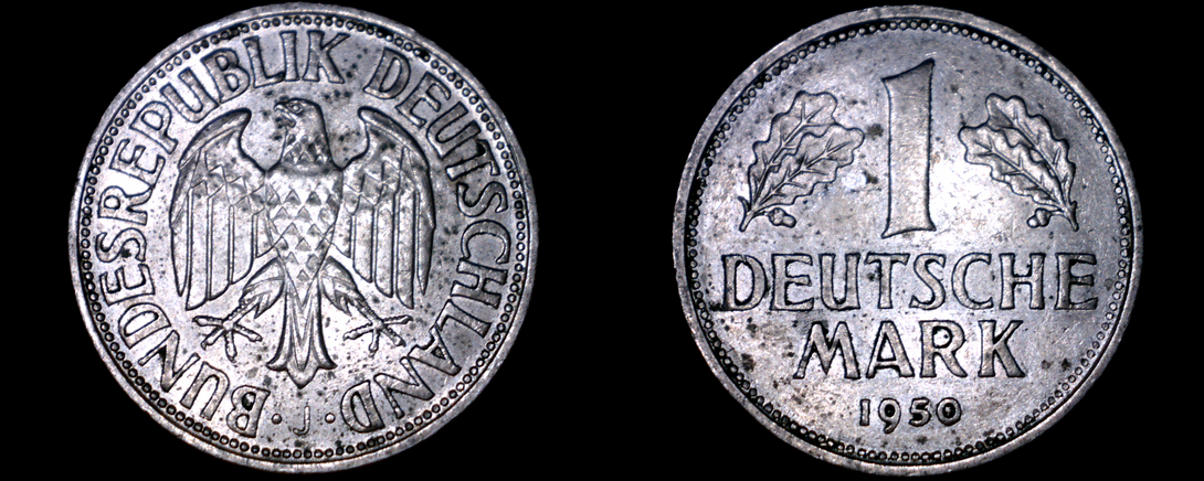 1950 j german 1 mark world coin germany west unified. Black Bedroom Furniture Sets. Home Design Ideas