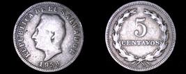 1956 El Salvador 5 Centavo World Coin - $7.99