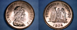 1974 Falkland Islands 1 Penny World Coin - Penguins - $6.99