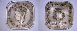 1944 Ceylon Sri Lanka 5 Cent World Coin - $4.99