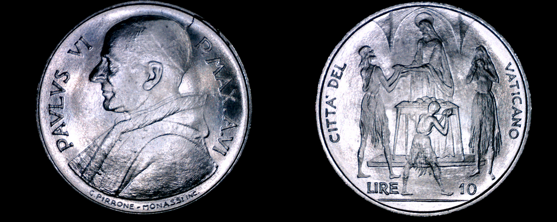 Primary image for 1968 Vatican City 10 Lire World Coin - Catholic Church Italy
