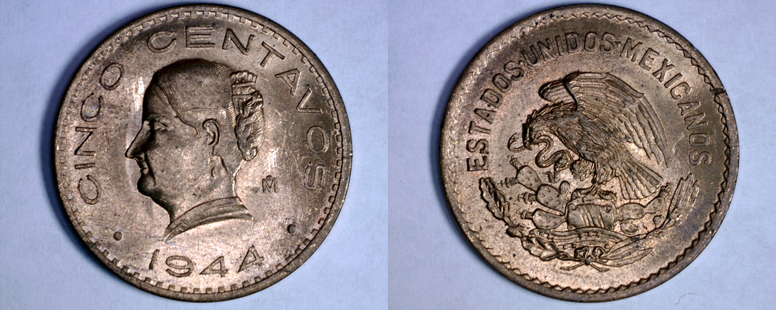 Primary image for 1944 Mexican 5 Centavo World Coin - Mexico