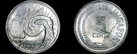 1982 Singapore 5 Cent World Coin - Snake Bird - $3.49