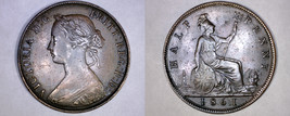 1861 Great Britain Half (1/2) Penny World Coin - UK - England - 4 Berries - $99.99
