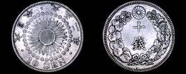 1913 (YR2) Japanese 10 Sen World Silver Coin - Japan - $19.99