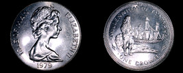 1979 Isle of Man 1 Crown World Coin - Standing Figure and Ship KM-49 - $8.99