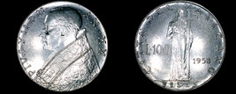 1958 Vatican City 100 Lire World Coin - Catholic Church Italy - $11.99