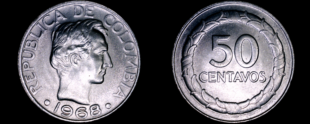 Primary image for 1968 Colombian 50 Centavo World Coin - Colombia