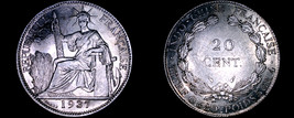 1937 French Indo-China 20 Cent World Silver Coin - Vietnam - $24.99