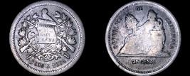 1881 Guatemalan 25 Centavo World Silver Coin - Guatemala - $24.99