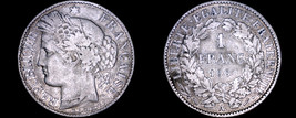 1888-A French 1 Franc World Silver Coin - France - $23.99