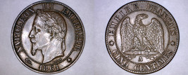 1861-A French 5 Centimes World Coin - France - $34.99