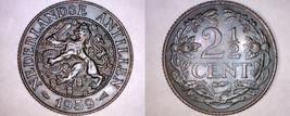 1959 Netherlands Antilles 2 1/2 Cent World Coin - $11.99