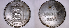 1830 Guernsey 4 Double World Coin - William IV - $19.99
