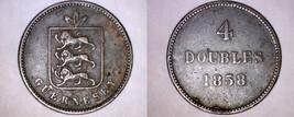 1858 Guernsey 4 Double World Coin - Victoria - $29.99