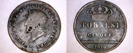 1819 Italian States Naples 5 Tornesi World Coin - Italy - $34.99