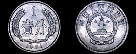 1991 Chinese 1 Fen World Coin - People's Republic of China - $2.49