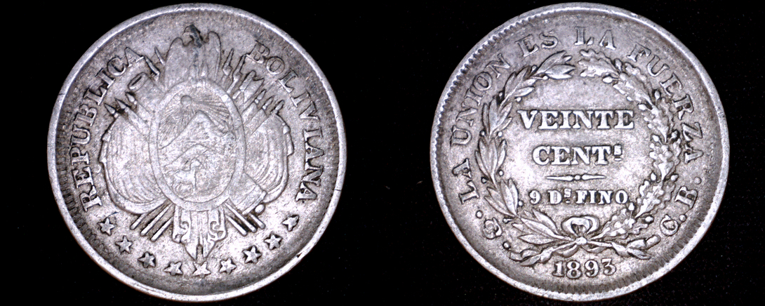 Primary image for 1893-PTS CB Bolivian 20 Centavo World Silver Coin - Bolivia