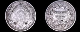 1893-PTS CB Bolivian 20 Centavo World Silver Coin - Bolivia - $24.99