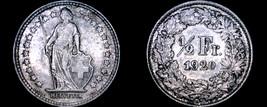 1920-B Swiss Half Franc World Silver Coin - Switzerland - $11.99