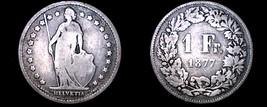 1877-B Swiss Franc World Silver Coin - Switzerland - $29.99