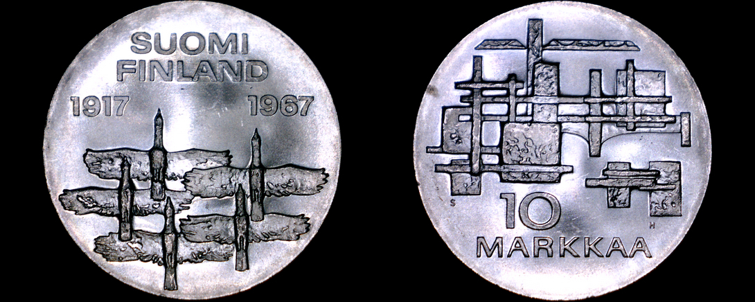 Primary image for 1967 Finnish 10 Markkaa World Silver Coin - Finland