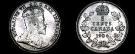 1904 Canada 5 Cent World Silver Coin - Canada - Edward VII - $39.99