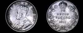 1911 Canada 10 Cent World Silver Coin - Canada - George V - $29.99