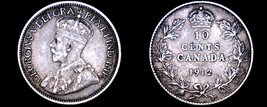 1912 Canada 10 Cent World Silver Coin - Canada - George V - $24.99