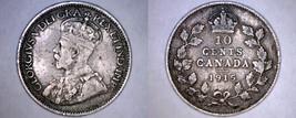 1915 Canada 10 Cent World Silver Coin - Canada - George V - $34.99