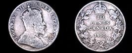 1910 Canada 10 Cent World Silver Coin - Canada - Edward VII - $14.99