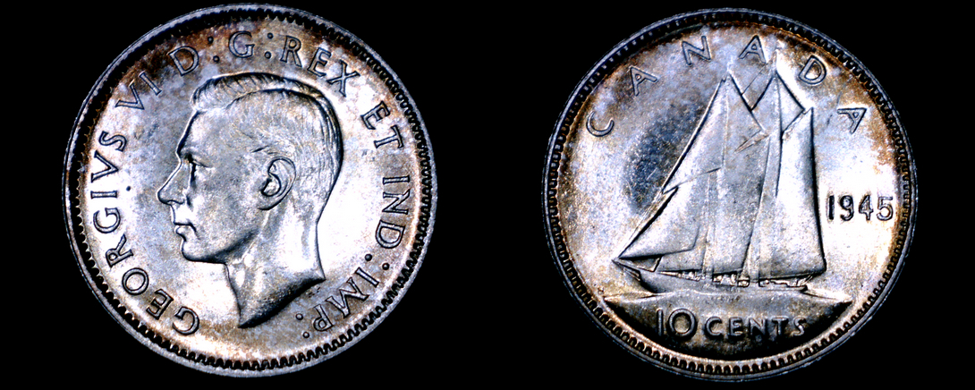 Primary image for 1945 Canada 10 Cent World Silver Coin - Canada - George VI