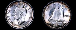 1945 Canada 10 Cent World Silver Coin - Canada - George VI - $39.99